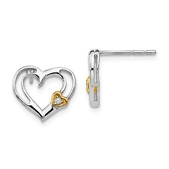 925 Sterling Silver White Ice Diamond Gold-Flashed Heart Earrings - .02 dwt