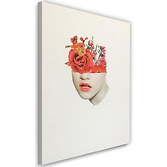 Picture Canvas XXL woman face with red roses Image Grey