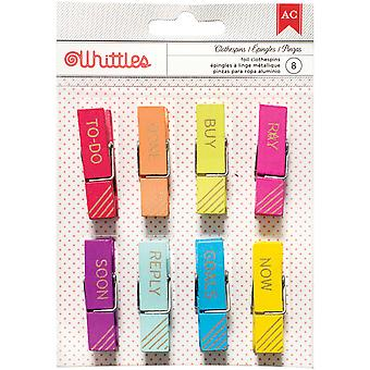 Designer Desktop Essentials Clothespins 8/Pkg-Gold Words 370813