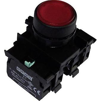 Pushbutton planar, Front ring (PVC), + contact Red