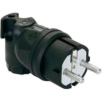 Safety L-shape mains plug Rubber 230 V Black IP44