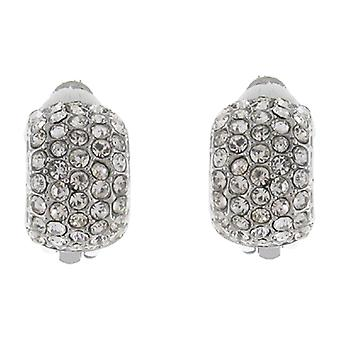 Clip On Earrings Store Silver and Five Row Crystal Semi Hoop Clip On Earrings