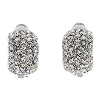 Clip auf Ohrringe Store Silber und fünf Reihe Kristall halb Hoop Clip auf Ohrringe