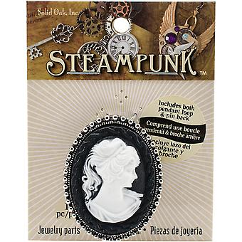 Steampunk Resin Pendant 1/Pkg-Cameo Black & White STEAM134
