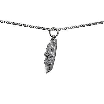 Silver 20x7mm Ocean Ship Liner Pendant with a curb Chain 24 inches