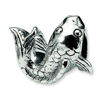 Sterling Silver Polished Antique finish Reflections SimStars Fish Bead Charm