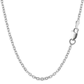 Sterling Silver Rhodium Plated Cable Chain Necklace, 2.3mm
