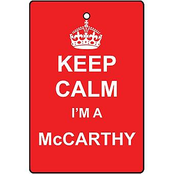 Keep Calm I'm A Mccarthy Car Air Freshener