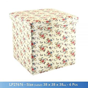 SUMMER DAISY FLOWER THEME FOLDING OTTOMAN STORAGE BOX AND SEAT 38x38x38cm