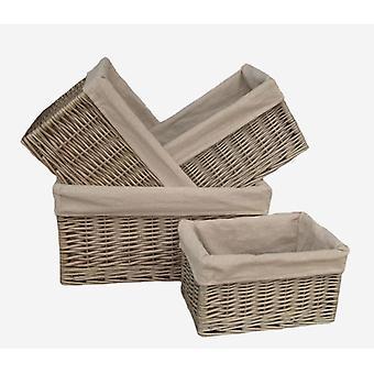 Antik-Wash ausgekleidet offene Wicker Storage Körbe 4er Set