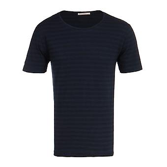Nudie Jeans Co Ove Navy & Black Double Stripe Crew Neck T-Shirt
