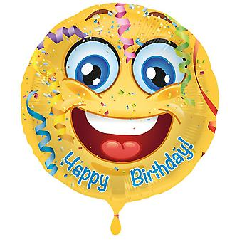 Balão de 43cm sorridente rosto da folha balão feliz aniversário