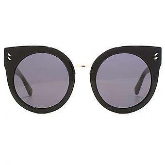 Stella McCartney Essentials Peaked Round Sunglasses In Black