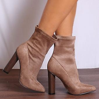 Shoe Closet Taupe Ankle Boots - Ladies Wham3 Taupe Pointed Stretch Sock Pull On Ankle Boots
