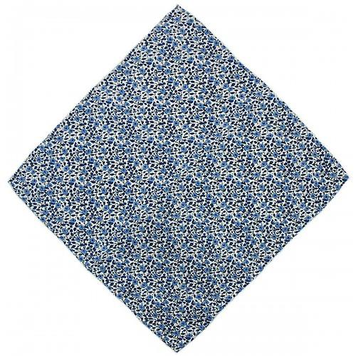 Michelsons of London Flower Silk Handkerchief - Navy Blue