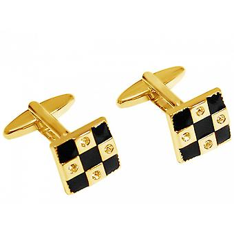 Men's cufflinks wedding stainless steel gold plated fire enamel black-gold