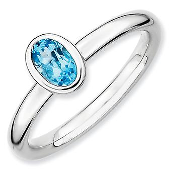 Sterling Silver Stackable Expressions Oval Blue Topaz Ring - Ring Size: 5 to 10