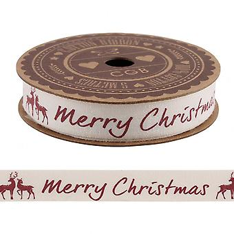 'Merry Christmas' Ribbon with Stag Xmas Cotton Ribbon 5m / Craft / Wrapping