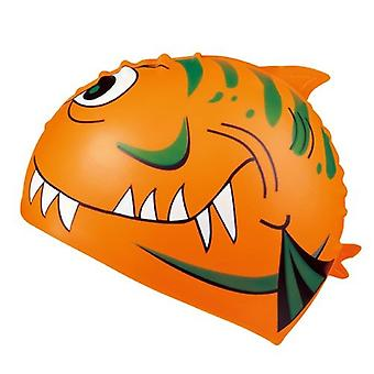 BECO Junior Silicone Character Swim Caps-Orange Shark