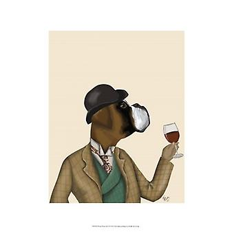 Boxer Wine Snob Poster Print by Fab Funky (13 x 19)