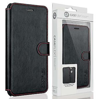 Caseflex iPhone 7 Plus Premium effekt tegnebog læderetui - sort
