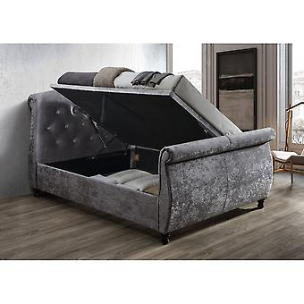 Birlea Toulouse Super King Size Ottoman Bed In Steel Crushed Velvet
