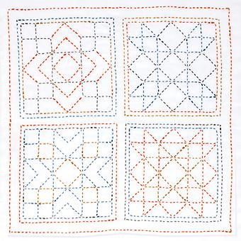 Sashiko World America Stamped Embroidery Kit-Sampler Square KSW-005E