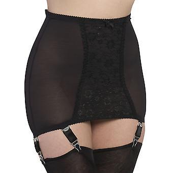 Nylon Dreams NDPG6 Women's Ebony Black Lace Light Control Slimming Shaping Girdle
