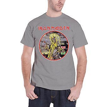 Iron Maiden T Shirt Killers Circle Band Logo Official Mens New Heather Grey
