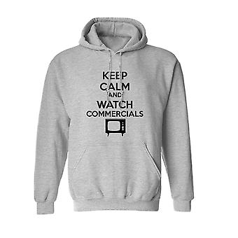 Keep Calm And Watch Commercials Graphic Men's Sports Grey Hoodie