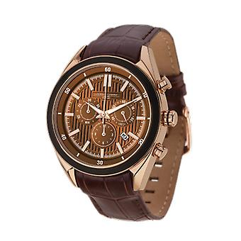 Jorg Gray Mens JG6900-21 Chronograph Watch Brown Dial Leather Strap