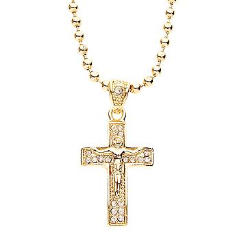 Iced out bling fashion chain - MICRO CROSS gold