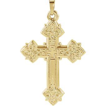14k giallo pendente croce in oro con Design 33x25mm - 1,8 grammi