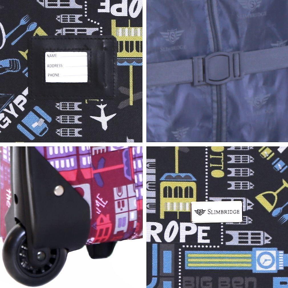 Slimbridge Algarve 55 cm Super Lightweight Suitcase, Black/Pink