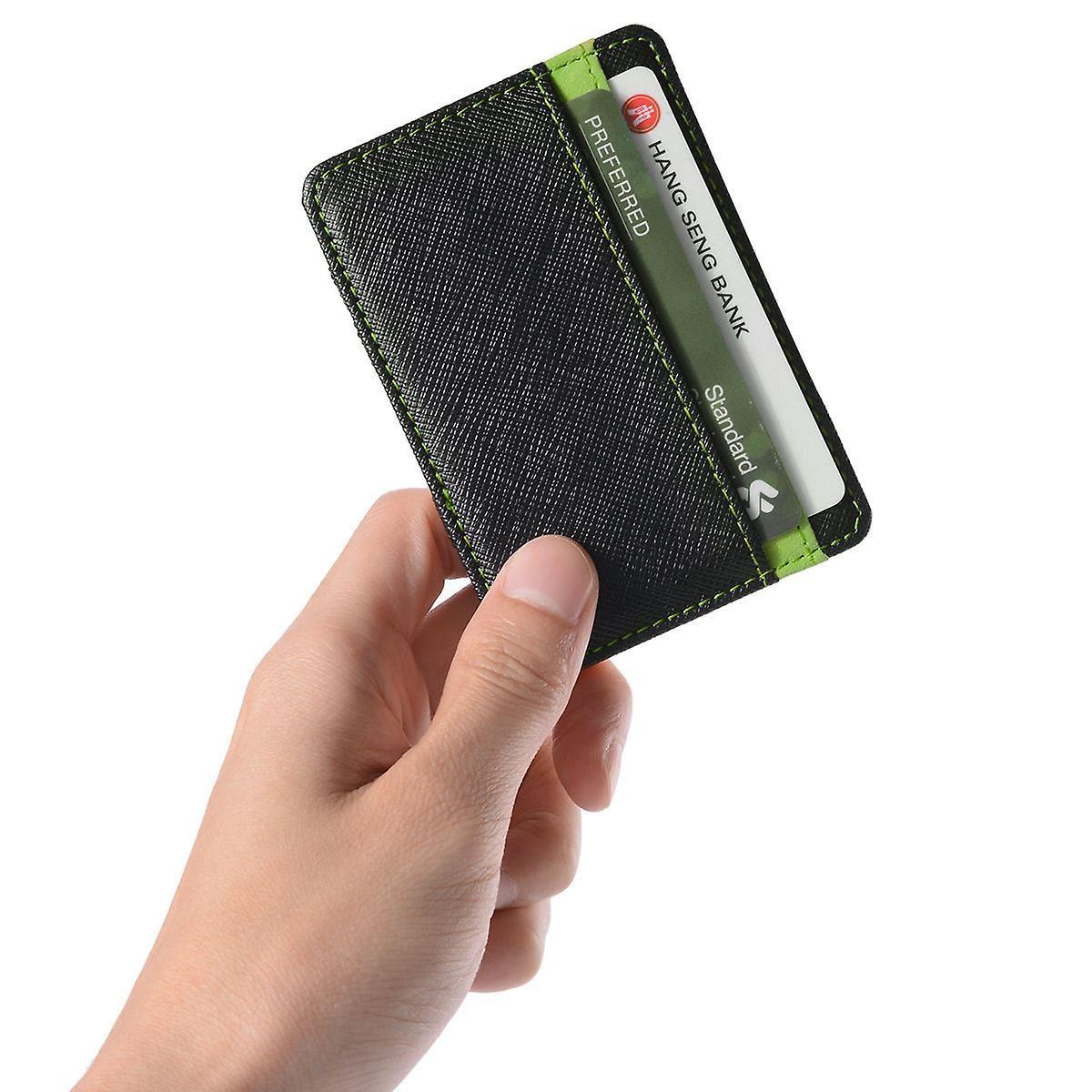 Unisex Magic Credit ID Card Elastic Money Clip Slim Cash Wallet Green