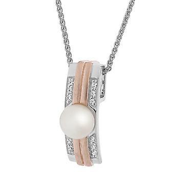 Orphelia sølv 925 kæde med vedhæng og Rosegold frisk vand Pearl & Zirconium ZH-7284