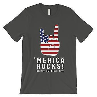 Merica Rocks T-Shirt Mens Dark Gray July 4th Veteran Husband Gift
