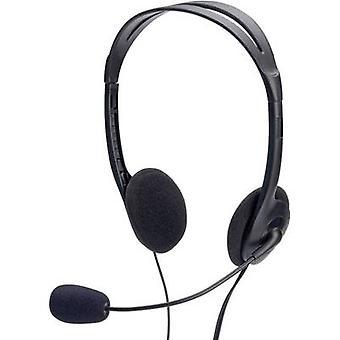 PC headset 3.5 mm jack Corded, Stereo ednet 83022 On-ear Black