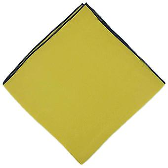 Michelsons of London Shoestring Border Handkerchief - Yellow/Navy Blue