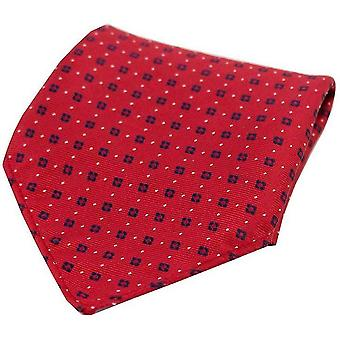 David Van Hagen Neat patroon Silk zak plein - Red/Navy