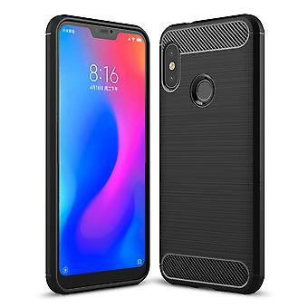 Xiaomi Redmi 6 Pro Hülle Silikon Schwarz Carbon Optik Case TPU Handyhülle Bumper