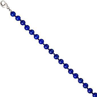 الأحجار الكريمة قلادة قلادة اللازورد الأزرق أحجار اللازورد 45 سم سلسلة فضة 925