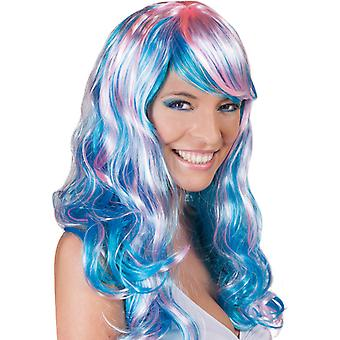 Wig Aquarella blue long-haired water waves