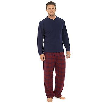 メンズ サーマル フリース トップ ・ フランネル底パジャマ ラウンジを着用します。