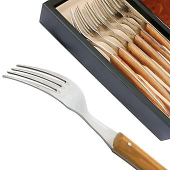 Set 6 Thiers forks - Olive wood handle Direct from France