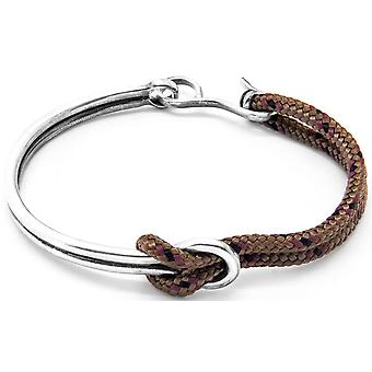Anchor and Crew Tay Silver and Rope Bangle - Brown