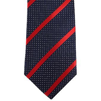 David Van Hagen gestreift Pin Dot Krawatte - dunkelblau/rot