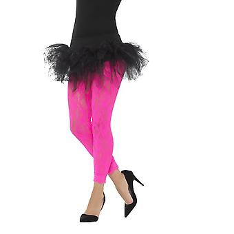 80's Lace Leggings, Neon Pink