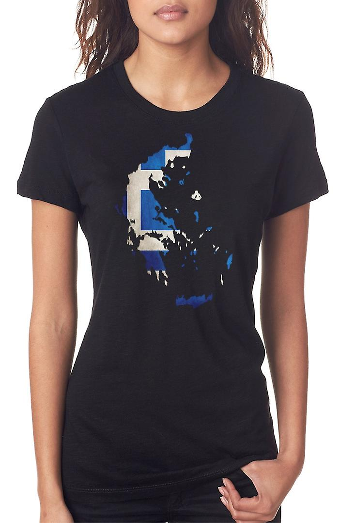 Greece Greek Flag Map Ladies T Shirt