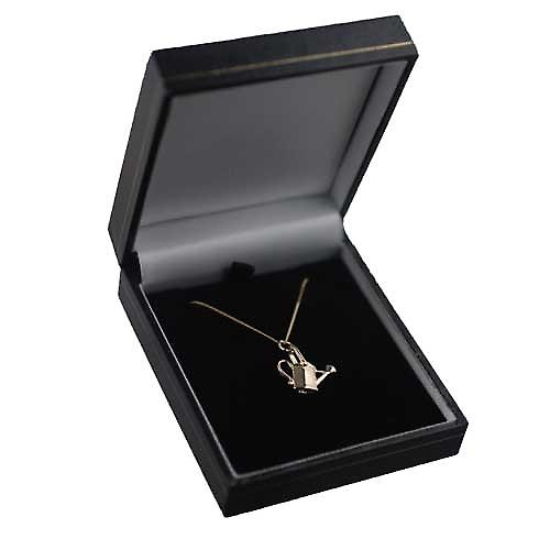9ct Gold 16x17mm Watering Can Pendant with a curb Chain 16 inches Only Suitable for Children